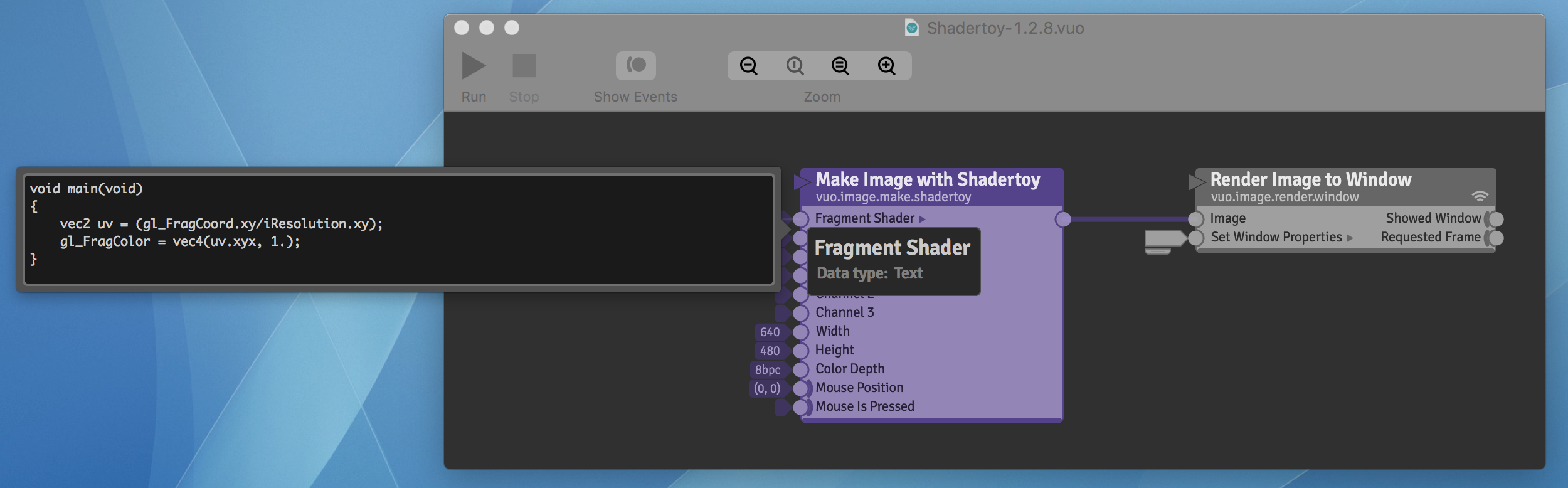 Make Image with Shadertoy node with old syntax in input editor
