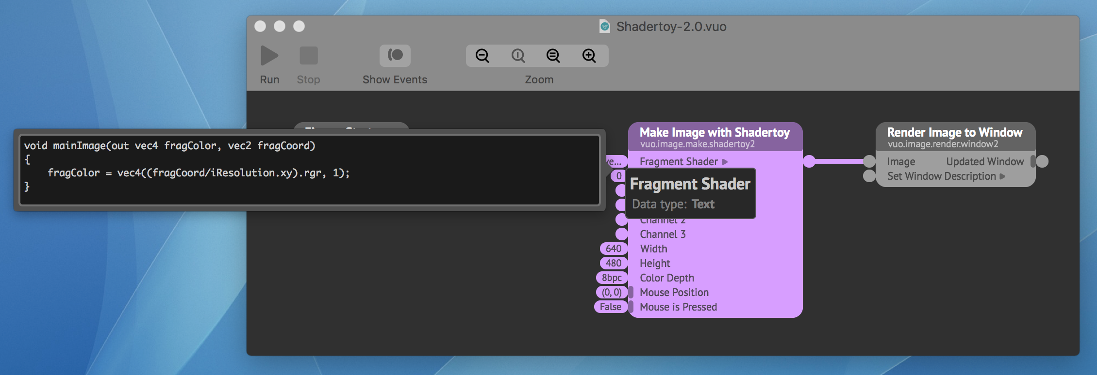 Make Image with Shadertoy node with new syntax in input editor