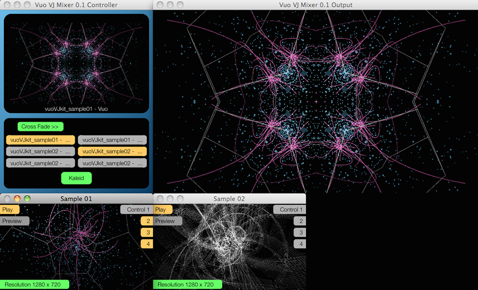 A screenshot of Satoshi's VJ mixer, made with Vuo