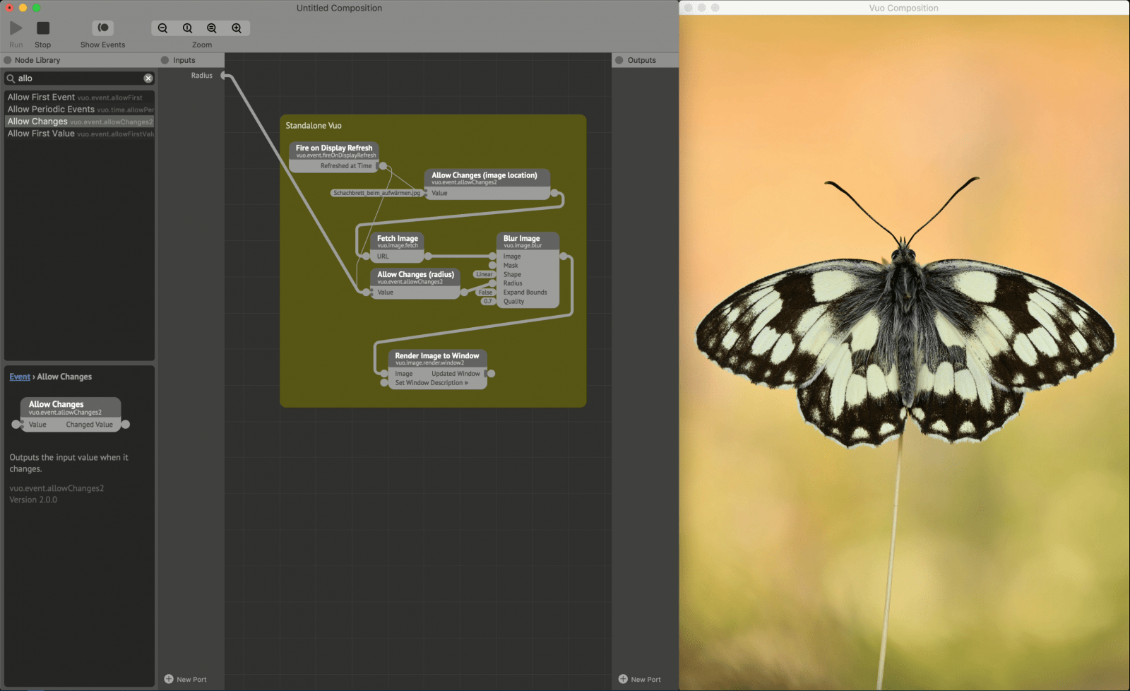 Composition with Allow Changes nodes inserted in front of Fetch Image and Blur Image