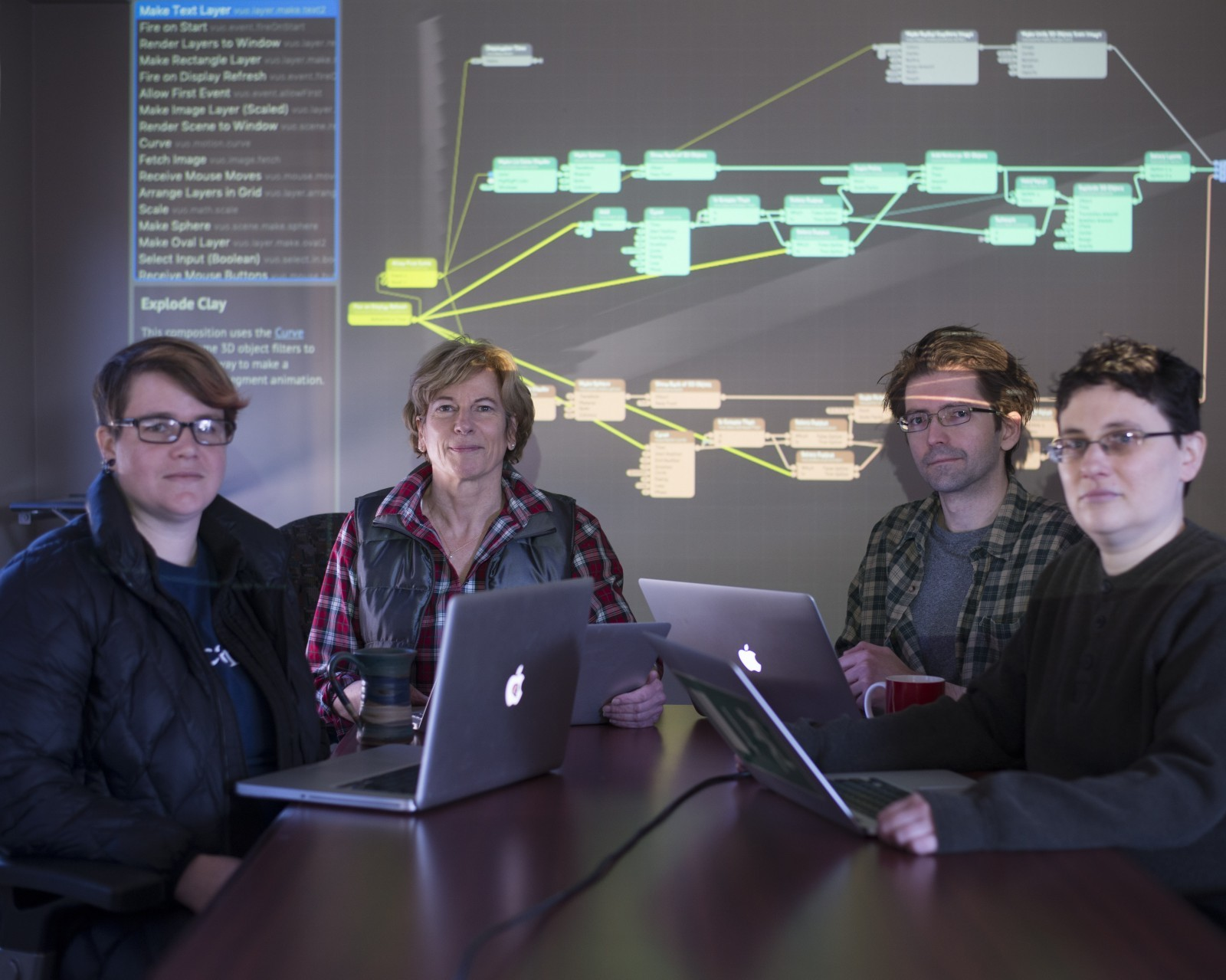 Members of Team Vuo seated with laptops in front of a projector screen showing the Vuo editor