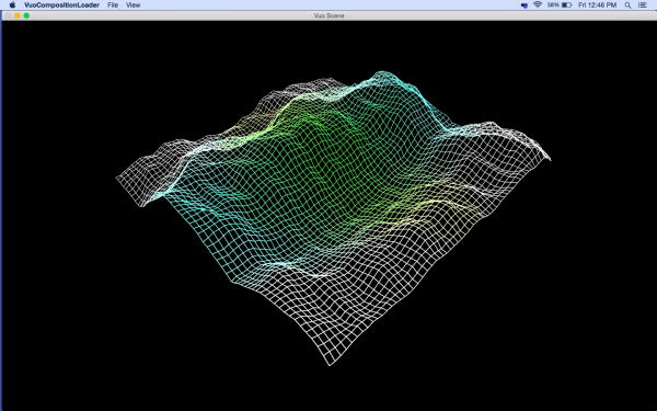 A screenshot of Vuo 1.1's new 'Make Rugged Terrain' example composition
