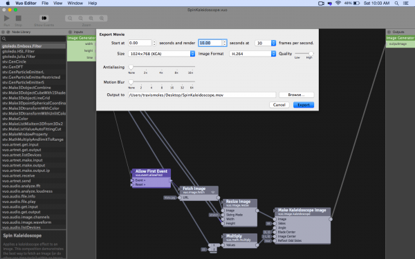 A screenshot of Vuo 1.1's new movie export dialog