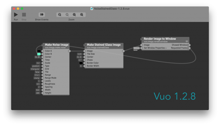 Composition in Vuo 1.2.8 with right-to-left cable