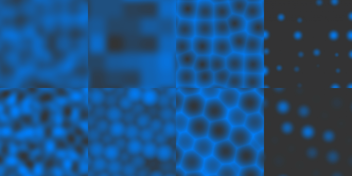 Screenshot of gradient noise, value noise, cellular noise, and dot noise, on rectangular and triangular grids