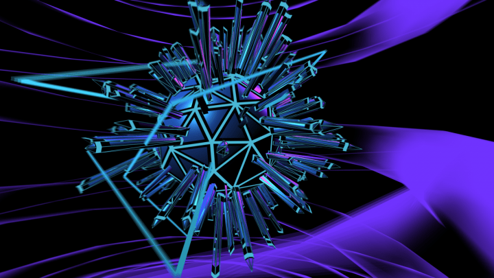 Graphics scene with a polyhedron with pegs sticking out of it
