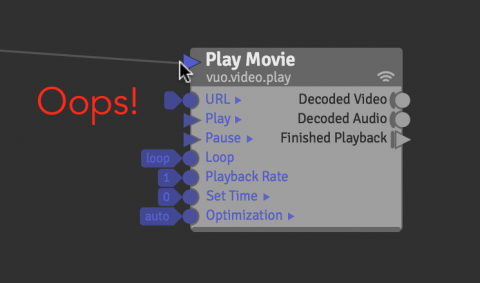 Connecting a cable to Play Movie's refresh port instead of its Play port