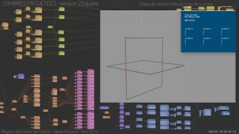 Screenshot of the Vuo composition source and output for Ombres Projeteés