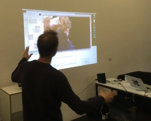 Joe demonstrating a body tracking composition