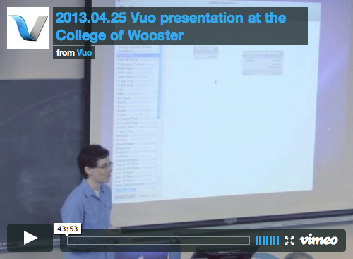 Screenshot of video recording of 2013.04.25 Vuo presentation