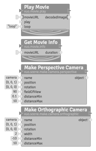 Play Movie, Get Movie Info, Make Perspective Camera, Make Orthographic Camera