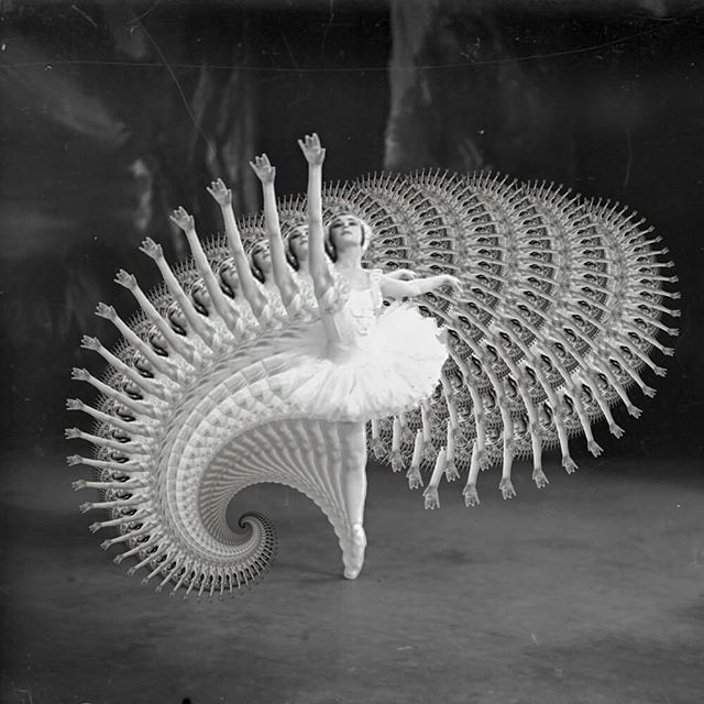 Photo of a ballerina altered with recursive repetitions